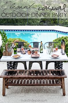 Gorgeous, elegant yet casual outdoor dinner party setting   ad - maisondepax.com
