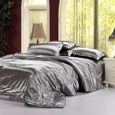 Marvelous Silver Comforter | Silver Grey Satin Bedding