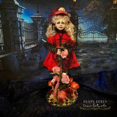 Alice - Art Doll - Alice In Wonderland - Fantasy Doll - Polymer Clay Doll - Alice Art Doll - Fantasy - OOAK Doll - Collectible Alice Doll - by RustyDolls on Etsy Polymer Clay Dolls, Witch Art, Hand Shapes, Fairy Dolls, Ooak Dolls, Shades Of Black, Red And Pink, Alice In Wonderland, Fantasy