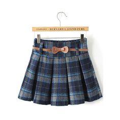 Plaid Belt Pleated Blue Skirt ($9.90) ❤ liked on Polyvore featuring skirts, blue, romwe, blue knee length skirt, tartan skirt, pleated skirt, short skirts and tartan plaid skirt