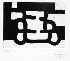 Eduardo Chillida (1924-2002), Antzo III, 1985. Etching on Rives BFK paper. 32.5cm H x 22.5cm W. Edition of 111 copies.
