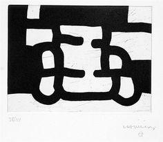 Eduardo Chillida (1924-2002), Antzo III, 1985. Etching on Rives BFK paper. 32.5cm H x 22.5cm W. Edition of 111 copies.