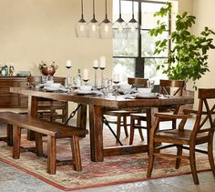 """XL (108"""" l to 144"""" l) $2,399 Benchwright Extending Dining Table, Rustic Mahogany"""