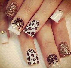 Cheetah Nail art - 50 Cheetah Nail Designs  <3 !