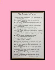 Use Coupon Code ETSYFAV2 for 20% off and Free Shipping -PINK  Runner's Prayer by AthletePrayers on Etsy
