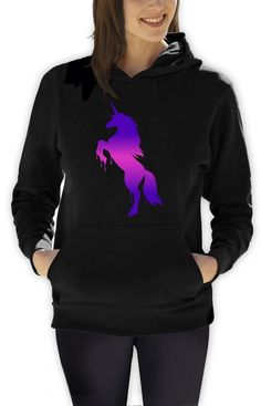 The super comfortable Space Unicorn Hoodie is elegant, charismatic and attractive in style, cut and fashion. Made of superior quality black cloth, the hoodie sports violet-pink eye catching Unicorn mo