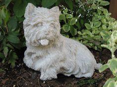 Captivating Hand Cast Concrete Garden Statue Westie Yorkie Dog By Irena731, $24.95