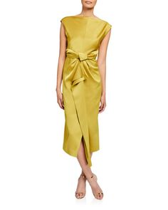 Camilla And Marc Bias-cut Cap-sleeve Satin Dress In Chartreuse Satin Dresses, Gowns, Satin Cocktail Dress, Dress The Population, Fashion 2020, Style Fashion, Camilla, Silk Top, Cap Sleeves