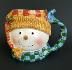 Certified International Susan Winget Snowman Coffee Mug Cup 24 fl oz. Blue