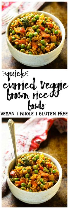 Quick Curried Veggie Brown Rice Bowls