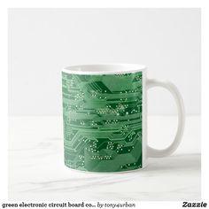 green electronic circuit board computer pattern coffee mug