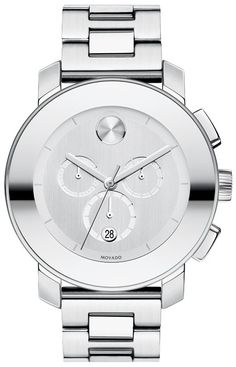 Movado+Bold+-+Large+Movado+BOLD+chronograph,+43.5+mm+stainless+steel+case+with+mirror-finish+bezel,+silver-toned+dial,+stainless+steel+link+bracelet+with+push-button+deployment+clasp,+K1+crystal,+1/1+Swiss+quartz+chronograph+movement,+water+resistant+to+30+meters. Boss SH*T check out hip hop beats @ http://kidDyno.com