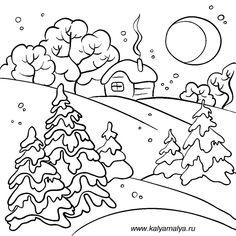 Зимний лес - раскраски для детей, 10 шаблонов для рисования