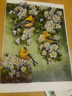 Tuğba's birds and papertole-Sümbül Eldek 3d Paper Art, Paper Crafts, Decoupage, Bird Drawings, Clay Flowers, Cute Diys, Clay Charms, Flower Crafts, Stone Painting