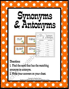 March Synonym/Antonym Center product from TeachingMy3 on TeachersNotebook.com Word Study, Word Work, New Classroom, Classroom Ideas, Synonym Activities, Synonyms And Antonyms, Reading Street, Teaching Language Arts, Readers Workshop
