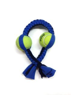 Double Tennis Ball Fleece Dog Toy - Made in USA-$29.95 | www.activedogtoys.com #fun_toy #dog_tug_toys