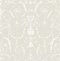 Regalia (98/12051) - Cole & Son Wallpapers - Inspired by the Crown Jewels housed at The Tower of London, this graceful damask style reflects the delicate decoration within the historic royal palaces. Shown here in stone with light grey and white detailing. Please request a sample for a true colour match. Paste the wall product.