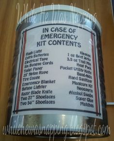 In Case Of Emergency Kit - great gift idea for the hard to buy for men in your life. The kit can be kept in many different places, not just the car.