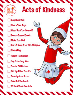 Random Acts of Kindness List for Kids | Printable Activities | Kind Deeds Lists for Children | Good Deeds for Kids | Elf on the Shelf Ideas