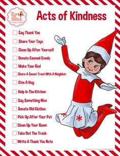 Random Acts of Kindness List for Kids | Printable Activities | Kind Deeds Lists for Children | Good Deeds for Kids | Elf on the Shelf Ideas