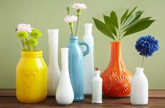 "A little ""water-proof"" paint, swirl around inside until completely covered, turn upside down and let the rest of the paint dry.  Easy, any color vase!"