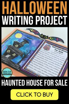 Haunted House for Sale Writing Activities will engage students, provide descriptive writing practice & make a creative October bulletin board display. Halloween Writing Prompts, Writing Prompts For Kids, Cool Writing, Writing Lessons, Writing Practice, Writing Paper, Descriptive Writing Activities, Haunted Houses For Sale, Fun Craft