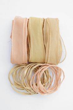 Hand dyed Silk Ribbons Set of 6 Spring nude