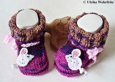 Babyschuhe Mäuse Handarbeit von strickliene von stricklienes lädchen auf DaWanda.com