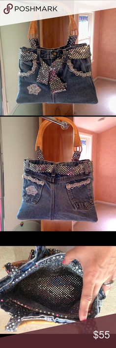 Unique, one of a kind, jeans purse. This adorable bag is handmade to perfection! Excellent quality. Outside features: black and silver sparkly embellishments, crochet and lace accents, functioning button & zip in front. Inside is a black and silver sparkly lining. Wooden handles. Brand new w/o tags. Never used. You'll be sure to get loads of compliments on this purse! Bags Shoulder Bags