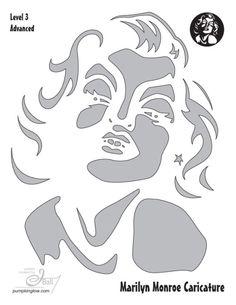 Marilyn Monroe pumpkin stencil for Halloween Halloween Stencils, Halloween Pumpkin Designs, Halloween Pumpkins, Halloween Crafts, Marilyn Monroe Dibujo, Marilyn Monroe Stencil, Stencil Patterns, Stencil Art, Stencil Designs