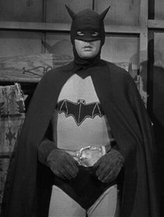 Robert Lowery as The Batman from the movie 'Batman and Robin' which was a 15-chapter serial film released in 1949 by Columbia Pictures