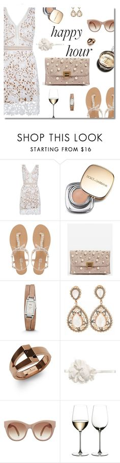 """""""Happy hour"""" by nineseventyseven ❤ liked on Polyvore featuring New Look, Dolce&Gabbana, Head Over Heels by Dune, Chanel, Topshop, FOSSIL, WiseWear, Riedel, lacedress and happyhour"""