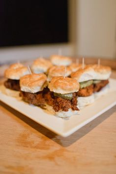 Fun wedding cocktail hour food idea - mini, biscuit chicken sandwiches {Priscilla Thomas Photography}
