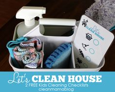 Get your kiddos on board with cleaning- includes kid-friendly checklists to make it more fun! Let's Clean House - 2 Free Kids Cleaning Checklists via Clean Mama