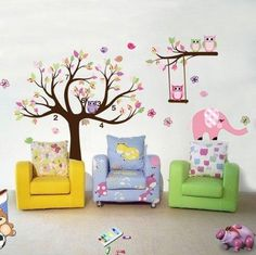 New Owls on the Tree Wall Decal, Nursery Animal Wall Sticker,butterflies Birds Owls Animals with Tree Stickers, Nursery Decoration Wall Decal for Kids Room Elephant Wall Decals for Boys and Girls Room Nursery Stickers, Kids Wall Decals, Nursery Wall Decals, Baby Nursery Decor, Wall Stickers Home, Vinyl Wall Art, Nursery Room, Kids Room Murals, Wall Murals