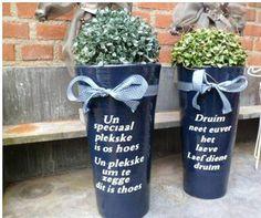 Dialect tekst ook voor op grote bloempotten