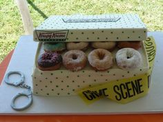Krispy Kreme Grooms Cake - This was the Grooms cake I made for my son-in-law (wh. - Krispy Kreme Grooms Cake – This was the Grooms cake I made for my son-in-law (who happens to be a - The Office Wedding, Police Wedding, Wedding Sweets, Wedding Cakes, Krispy Kreme Cake, Funny Grooms Cake, Police Officer Wedding, Police Cakes, Retirement Cakes