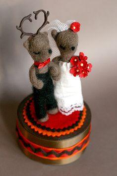 #Needle #Felt #Wedding #Cake #Topper #deer