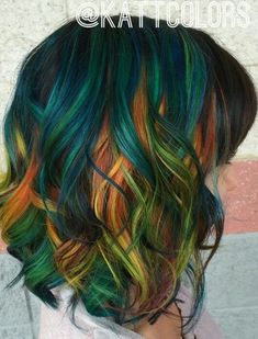 Absolutely love this green orange Teal dyed hair color inspiration #absolutely