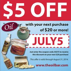 Shopping online? Get July savings on your next purchase of $20 or more with this coupon, only @ http://TheOilBar.com !!