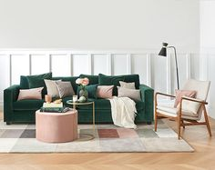 Get the Look - Wohnwelten zum Verlieben   WestwingNow Boho Chic Living Room, Living Room Green, Green Rooms, New Living Room, Living Room Sofa, Home And Living, Cozy Living Rooms, Decoration Inspiration, Apartment Interior