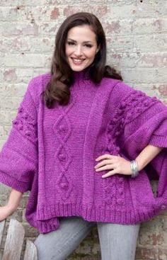 Cable and Bobble Poncho, this could even be worn over a coat for a really cold day or over a jacket for layering