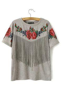 Tassel Floral T-Shirt