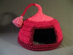 Crocheted Cat Cave Pet house Pet Bed Pink and Purple with tassel for playing