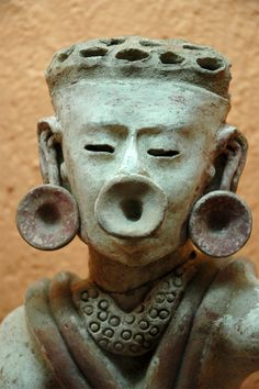 Ancient Pre-Columbian sculpture located at the Museo Rufino Tamayo in Oaxaca, southern Mexico.