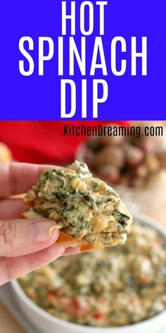 Hot and cheesy, gooey and melty, Hot Spinach Dip is the perfect appetizer.  via @rjeagle12 Easy Appetizer Recipes, Best Dinner Recipes, Dip Recipes, Cooking Recipes, Dip Appetizers, Cookbook Recipes, Vegetarian Recipes, Hot Spinach Dip, Appetizer Recipes