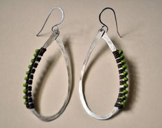 Sterling Silver wrapped hoops with green beads. $66.00, via Etsy.