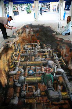 Street Art Graffiti 89 of the world's most mind-bending chalk drawings - Streetart- 89 of the wor 3d Street Art, Amazing Street Art, Street Artists, 3d Art, 3d Chalk Art, Chalk Artist, Street Art Graffiti, Art Violet, 3d Sidewalk Art