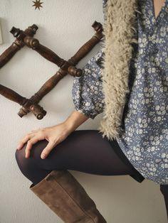 Chemisier/blouse ample en liberty Capel gris et veste moumoute (ma petite mercerie) par Celestine & Cie