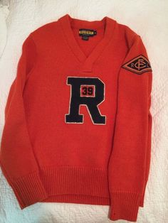 Ralph Lauren Rugby Store Varsity Orange Sweater  Chenille R 39 Patch Medium RRL #RalphLaurenRugby #VNeck